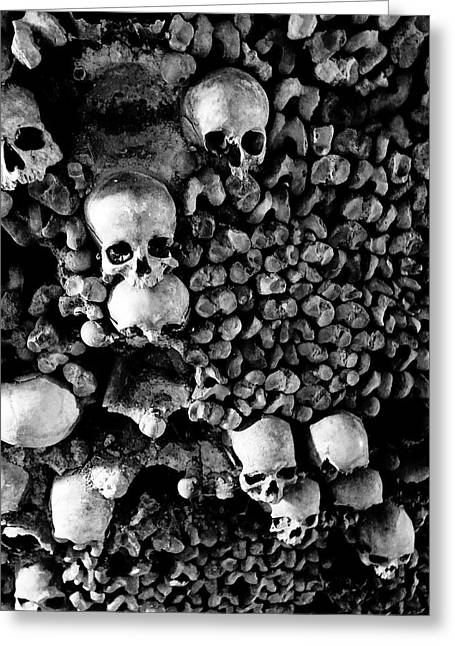 Cemeteries Of Paris Greeting Cards - Skulls And Bones In The Catacombs Of Paris France Greeting Card by Richard Rosenshein