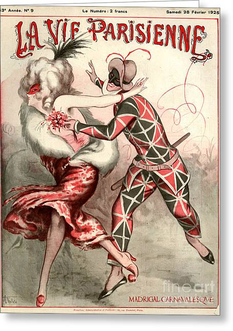 Pierrot Greeting Cards - 1920s France La Vie Parisienne Magazine Greeting Card by The Advertising Archives