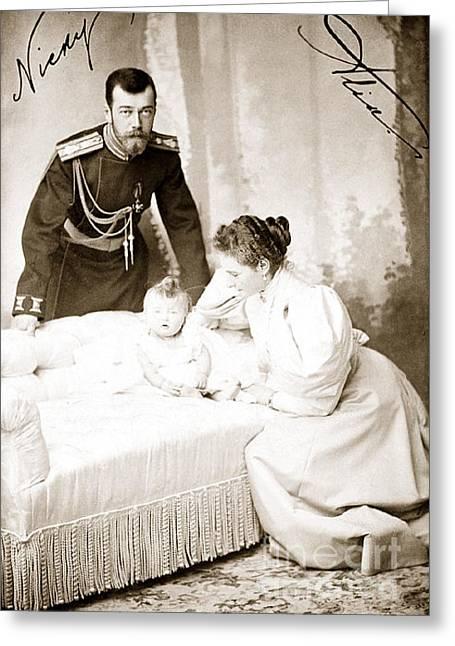 Saint Olga Greeting Cards - 321. Tsar Nicholas II Empress Alexandra Feodorovna and Grand Duchess Olga 1896 Print Greeting Card by Royal Portraits