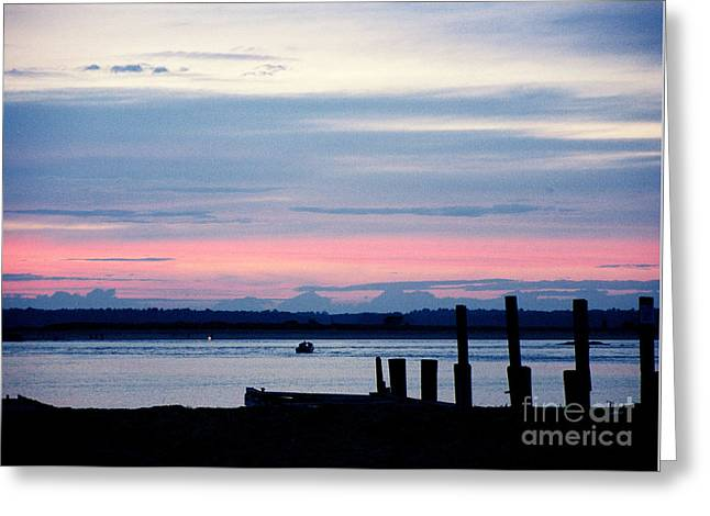 Photos Greeting Cards - #325 1a Sunset Plum Island Dock Film.jpg Greeting Card by Robin Lee Mccarthy Photography
