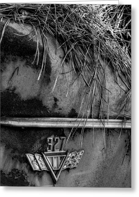 Rusted Cars Greeting Cards - 327 Flag Emblem in Black and White Greeting Card by Greg Mimbs