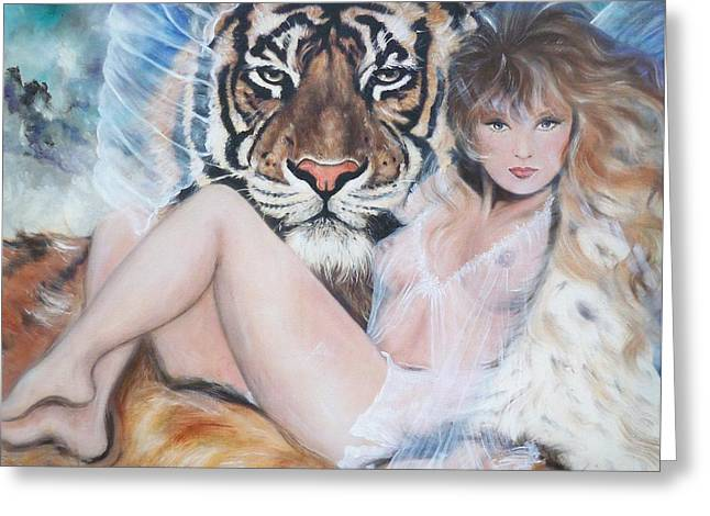 Blonde Nude Greeting Cards - 329  Tiger Angel Greeting Card by Sigrid Tune