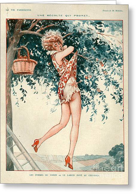 Picking Drawings Greeting Cards - 1920s France La Vie Parisienne Greeting Card by The Advertising Archives