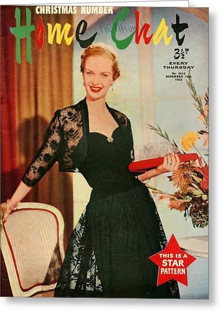 Eveningwear Greeting Cards - 1950s Uk Home Chat Magazine Cover Greeting Card by The Advertising Archives