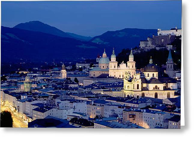 Salzburg Greeting Cards - High Angle View Of Buildings In A City Greeting Card by Panoramic Images