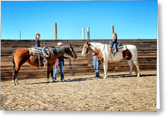 The Horse Greeting Cards - 33. Kids Day at The Ranch Greeting Card by Maria Jansson