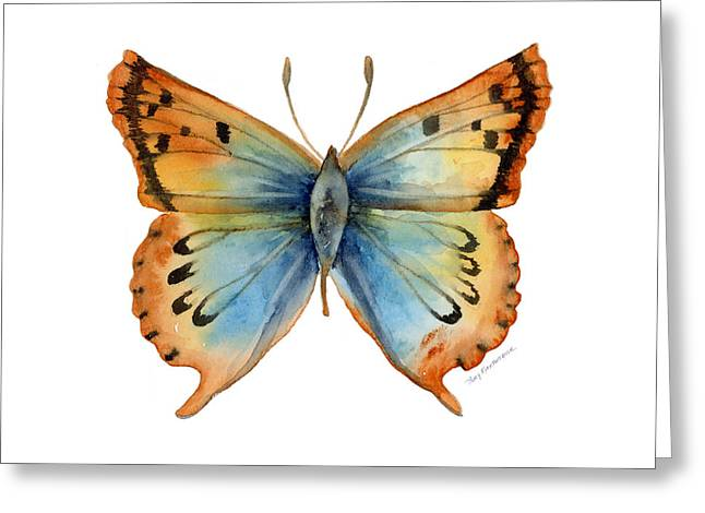 Background Paintings Greeting Cards - 33 Opal Copper Butterfly Greeting Card by Amy Kirkpatrick