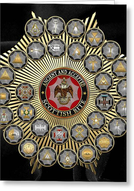 Hierarchy Greeting Cards - 33 Scottish Rite Degrees Chart on Black Velvet Greeting Card by Serge Averbukh