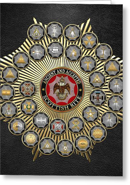 Hierarchy Greeting Cards - 33 Scottish Rite Degrees on Black Leather Greeting Card by Serge Averbukh
