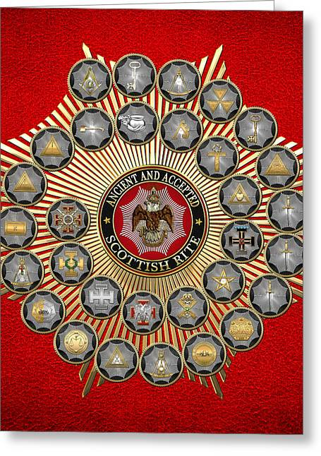 Hierarchy Greeting Cards - 33 Scottish Rite Degrees on Red Leather Greeting Card by Serge Averbukh