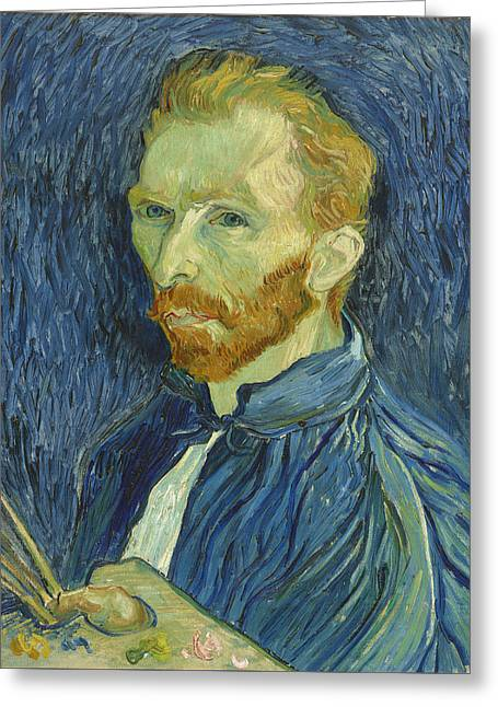 Famous Artist Greeting Cards - Self-Portrait Greeting Card by Vincent van Gogh