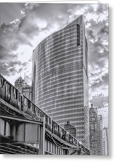 Wacker Drive Greeting Cards - 333 W Wacker Drive Black and White Greeting Card by Christopher Arndt