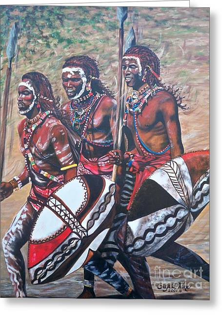 African Art Greeting Cards - 335 Masaai Warriors Greeting Card by Sigrid Tune