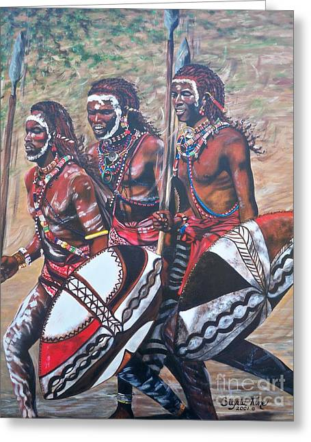 People Tapestries - Textiles Greeting Cards - 335 African Masaai Warriors Greeting Card by Sigrid Tune