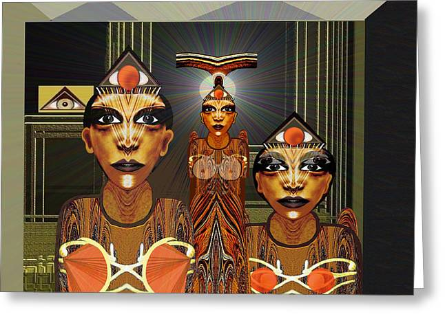 Bustier Greeting Cards - 338 - Aliens with egyptian touch Greeting Card by Irmgard Schoendorf Welch