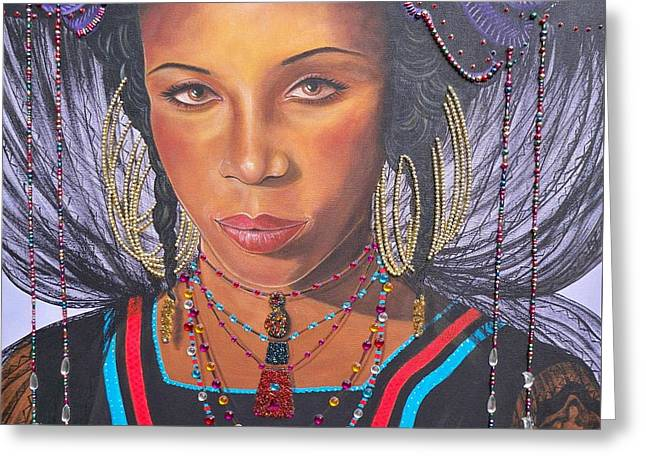 Black Lace Greeting Cards - 338 Golden Wodaabe Girl Greeting Card by Sigrid Tune