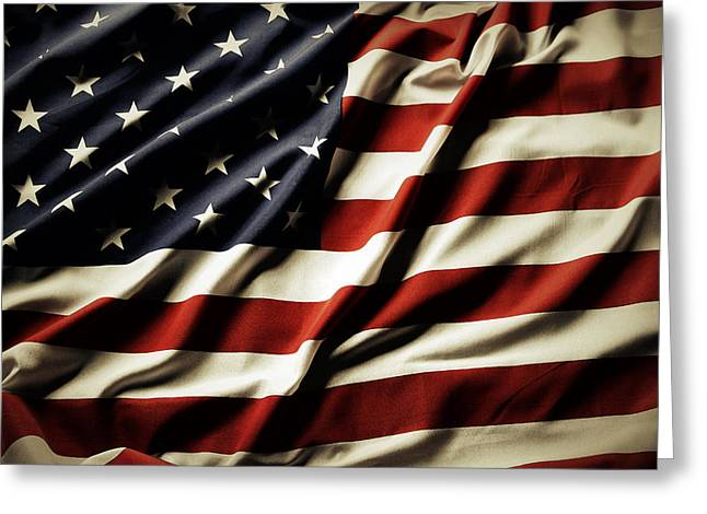 Celebrate Photographs Greeting Cards - American flag Greeting Card by Les Cunliffe