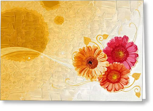 Close Up Paintings Greeting Cards - canvas Paintings Flowers Greeting Card by Victor Gladkiy