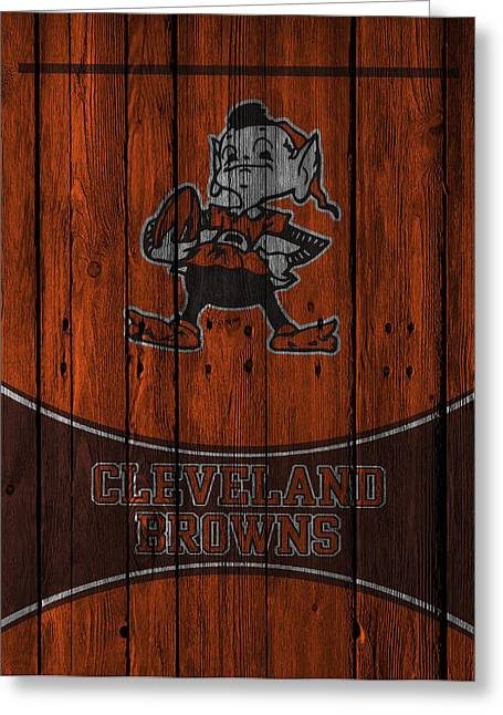 Snow Greeting Cards Greeting Cards - Cleveland Browns Greeting Card by Joe Hamilton