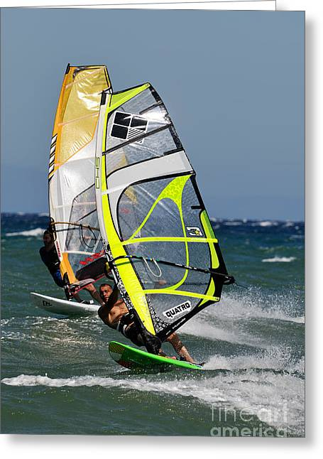 Sailboarding Greeting Cards - Windsurfing Greeting Card by George Atsametakis