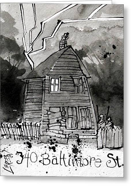 Clapboard House Drawings Greeting Cards - 340 Baltimore Street Greeting Card by Larry Lerew