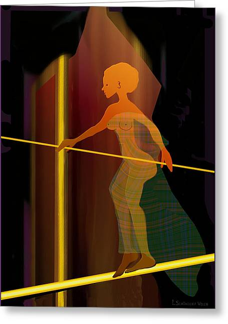 Insecurity Greeting Cards - 346 - Her  Balance Greeting Card by Irmgard Schoendorf Welch