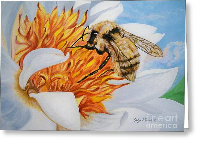 Honeybee Greeting Cards - 346bb Busy Little Bee  Greeting Card by Sigrid Tune