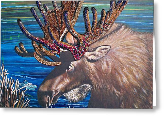 Moose In Water Greeting Cards - 348 Beaded Moose in the Lake Greeting Card by Sigrid Tune