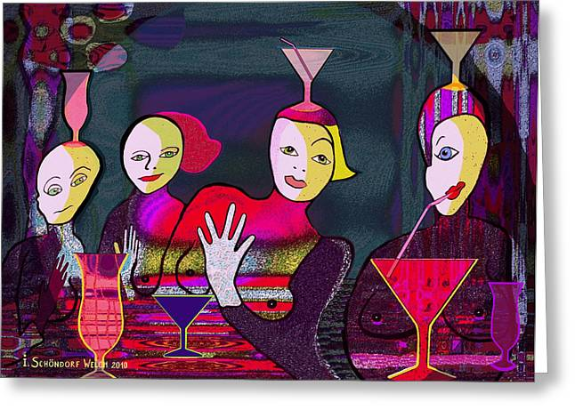 Inu Greeting Cards - 349 - Crazy Cocktail Bar   Greeting Card by Irmgard Schoendorf Welch