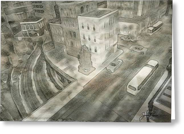 Historical Images Drawings Greeting Cards - 34th st. New York City Greeting Card by Joan Reese