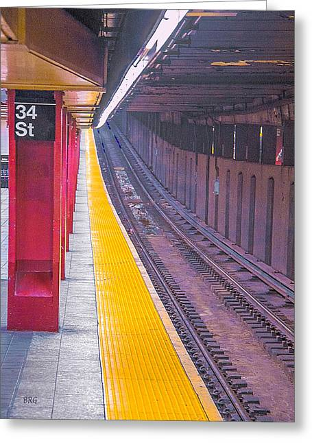 Geometric Digital Photographs Greeting Cards - 34th Street Subway Station - New York City Greeting Card by Ben and Raisa Gertsberg