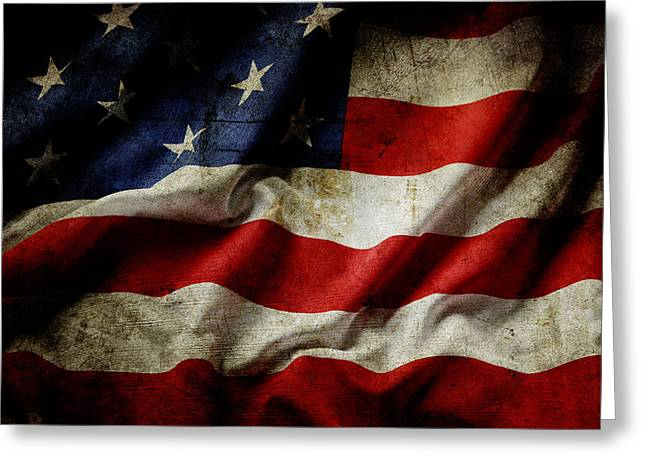 Democratic Greeting Cards - American flag Greeting Card by Les Cunliffe