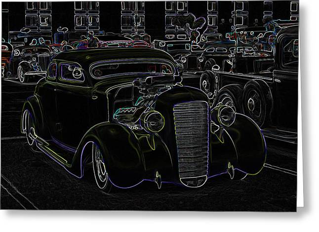 32 Ford Truck Greeting Cards - 35 Ford Coupe Neon Glow Greeting Card by Steve McKinzie