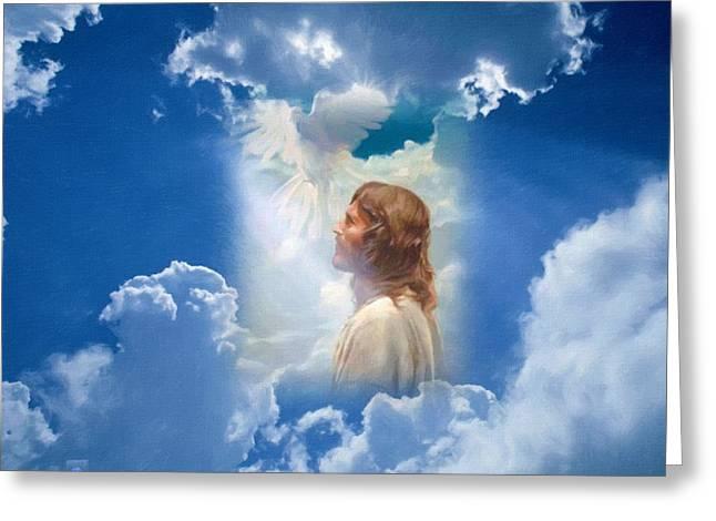 Catholic Art Greeting Cards - Jesus Greeting Card by Victor Gladkiy