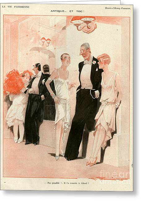 Eveningwear Greeting Cards - 1920s France La Vie Parisienne Magazine Greeting Card by The Advertising Archives