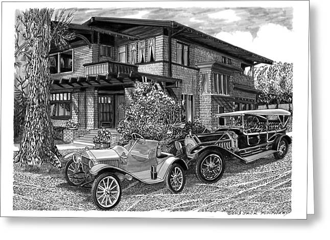 Long Street Drawings Greeting Cards - 1913 Metz Runabout in front of 355 Junipero Long Beach C A Greeting Card by Jack Pumphrey