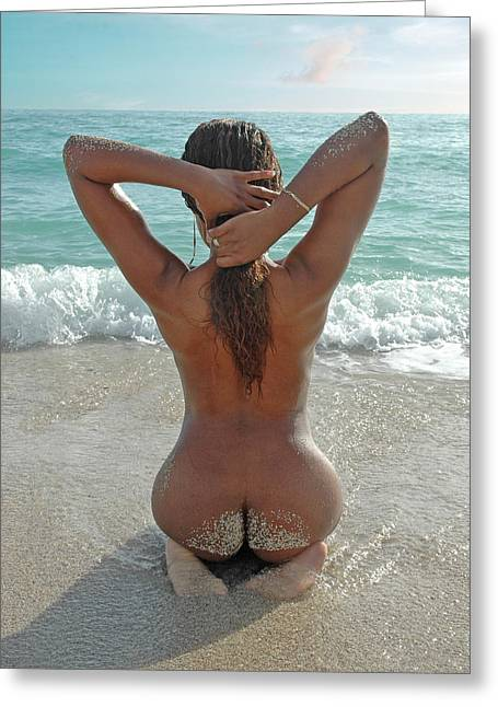 Subtle Colors Greeting Cards - 3583 Sandy Butt on Nude Beach Island Girls Series Greeting Card by Chris Maher