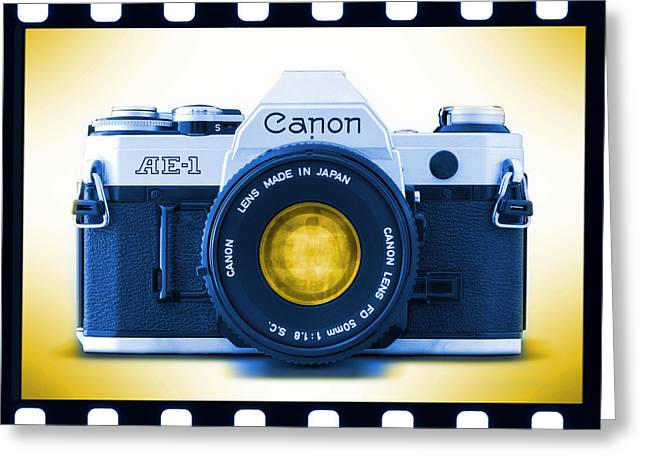 Blue Horizontal Greeting Cards - 35mm BLUES Canon AE-1 Greeting Card by Mike McGlothlen
