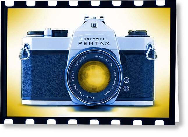 Slr Greeting Cards - 35mm BLUES Pentax Spotmatic Greeting Card by Mike McGlothlen