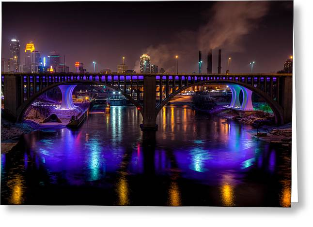 35W Bridge in Vikings Purple Greeting Card by Mark Goodman