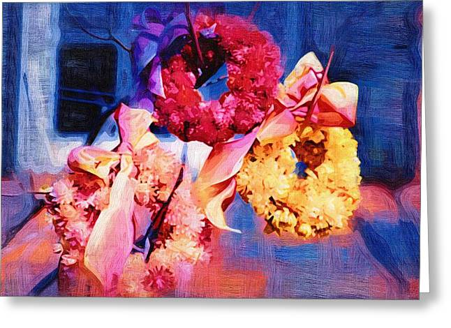Close Up Paintings Greeting Cards - Abstract Flowers Painting Greeting Card by Victor Gladkiy