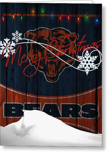 Christmas Greeting Greeting Cards - Chicago Bears Greeting Card by Joe Hamilton