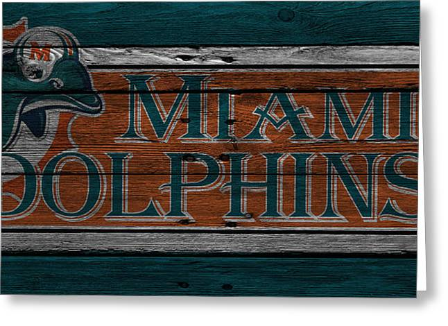 Team Greeting Cards - Miami Dolphins Greeting Card by Joe Hamilton