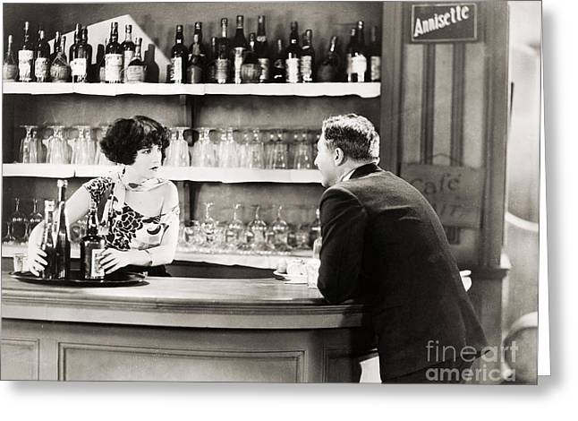 Wine Service Photographs Greeting Cards - Silent Film Still: Drinking Greeting Card by Granger