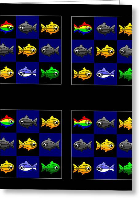 36 Trouts In The Golden Temple Lake In Kyoto On Brown Greeting Card by Asbjorn Lonvig