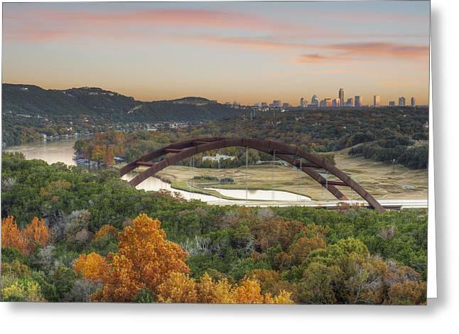 360 Bridge And The Austin Skyline In Autumn Greeting Card by Rob Greebon