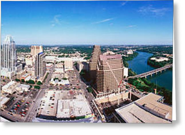 360 Greeting Cards - 360 Degree View Of A City, Austin Greeting Card by Panoramic Images