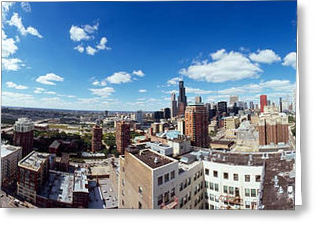 Midwest Scenes Greeting Cards - 360 Degree View Of A City, Chicago Greeting Card by Panoramic Images