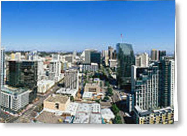 360 Greeting Cards - 360 Degree View Of A City, San Diego Greeting Card by Panoramic Images