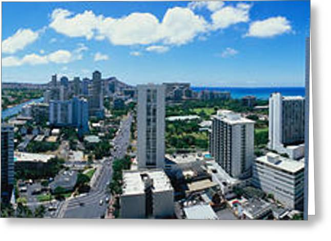 360 Greeting Cards - 360 Degree View Of A City, Waikiki Greeting Card by Panoramic Images